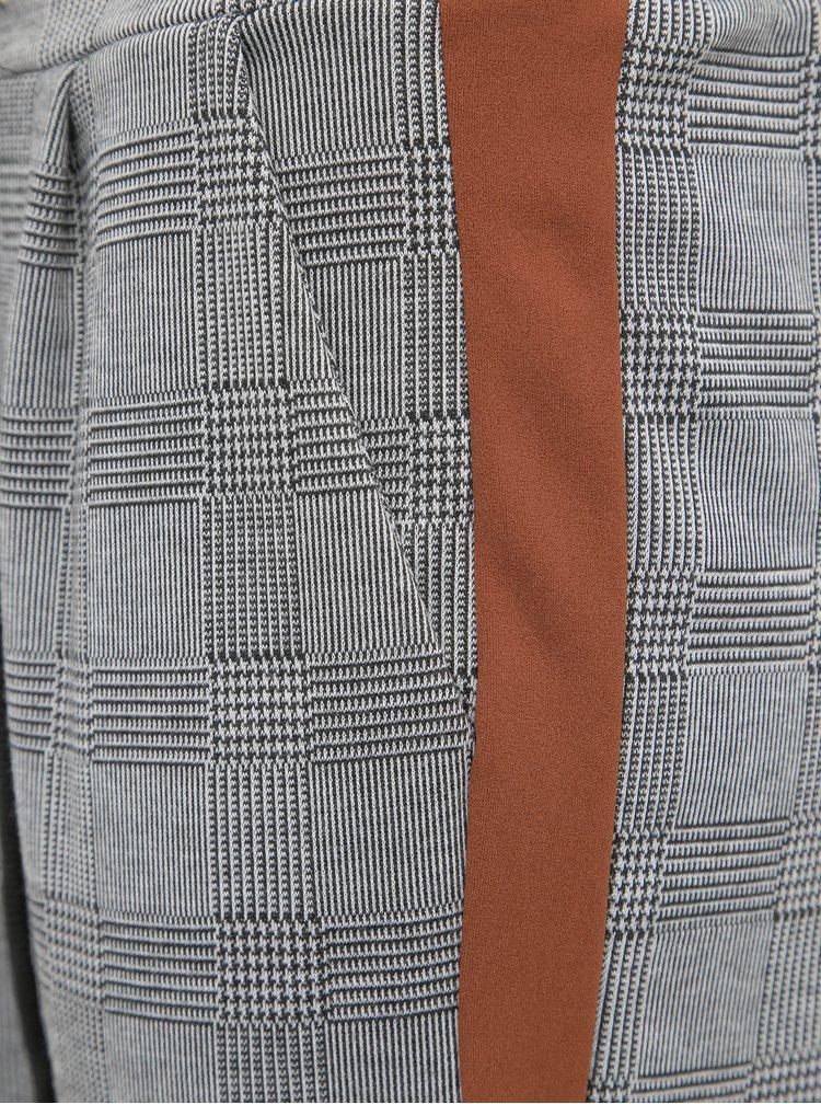 Šedé dámske kockované skrátené nohavice s pásom Haily´s Greta