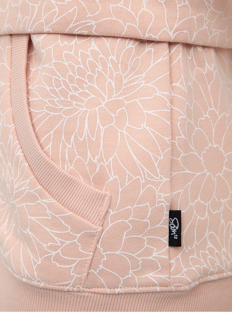 Světle růžová dámská květovaná mikina SAM 73