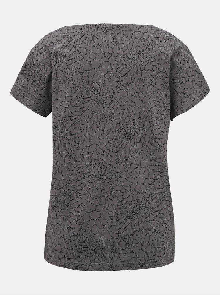 Šedé dámske kvetované tričko SAM 73