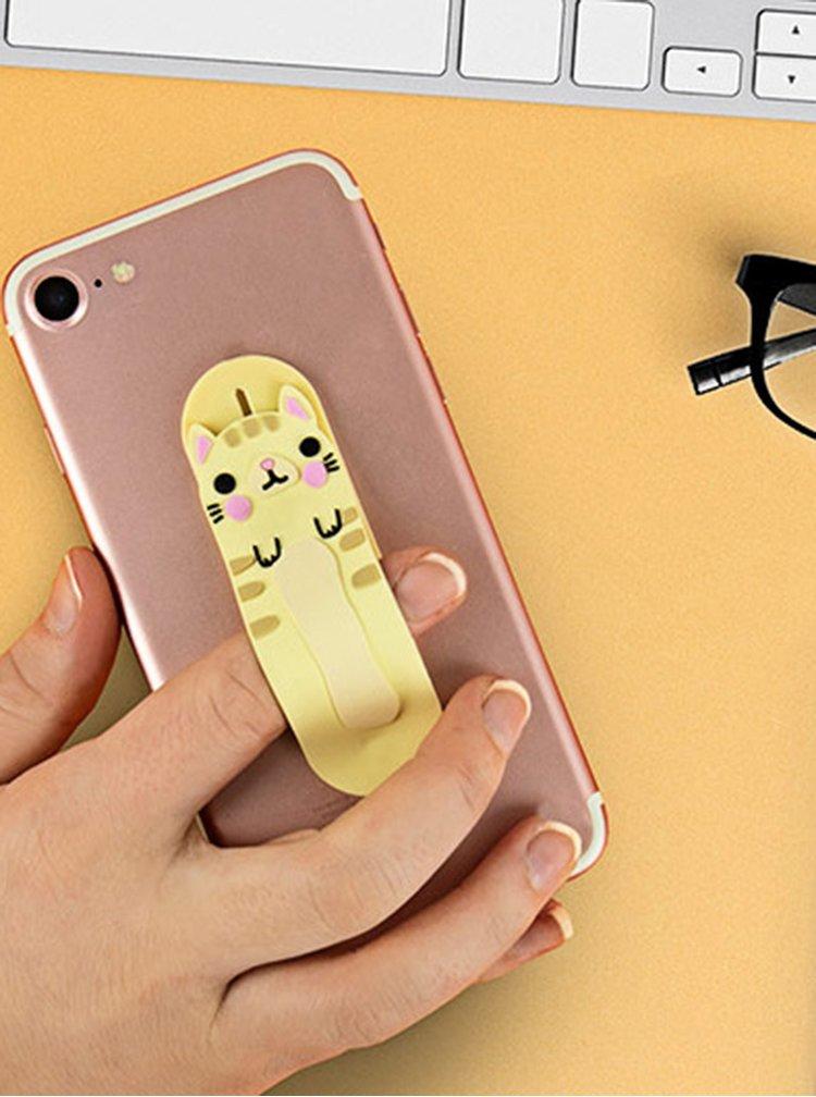 Béžový držák na telefon ve tvaru kočky Gift Republic