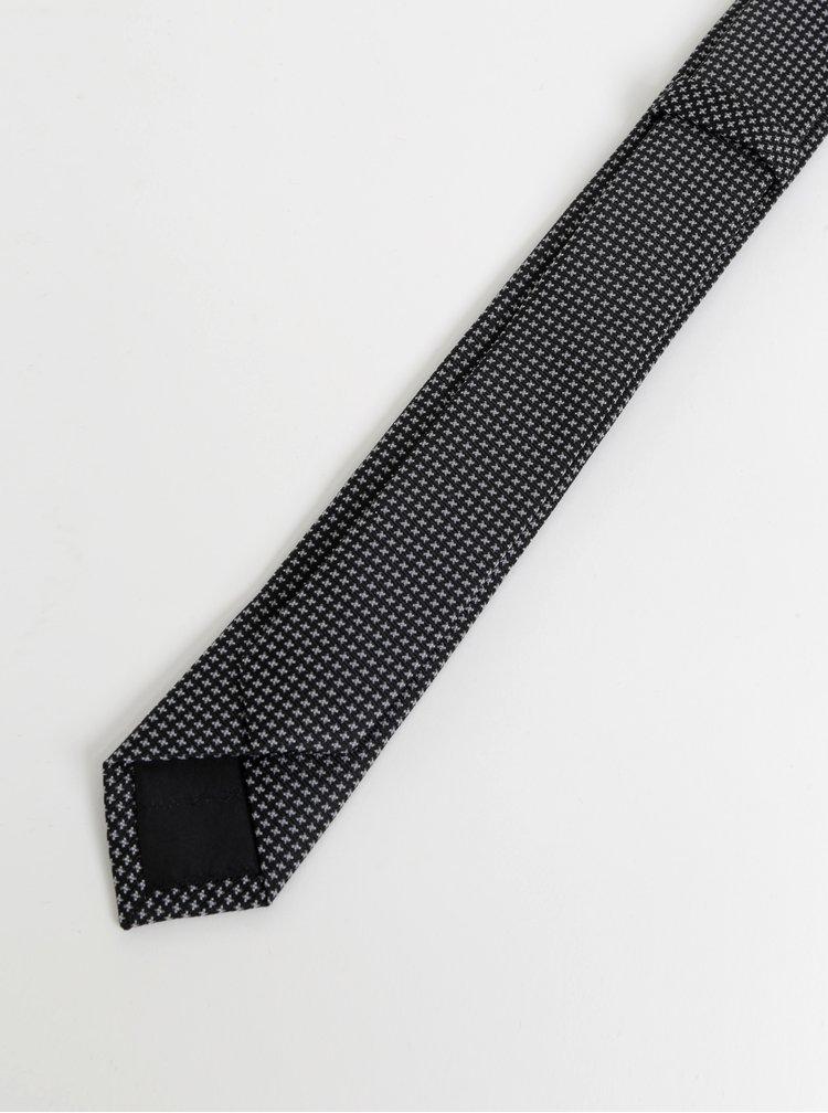 Černá vzorovaná kravata Selected Homme Nicholas