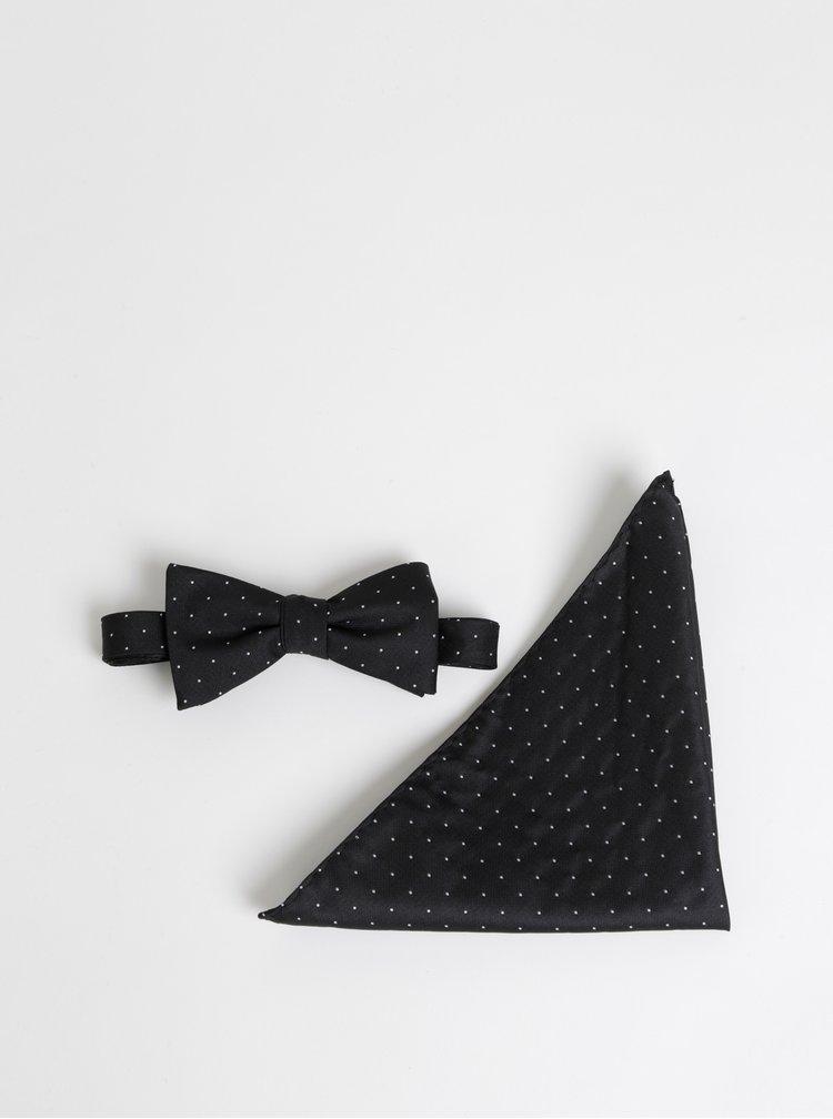 Černý puntíkovaný motýlek s kapesníčkem Selected Homme Nicholas