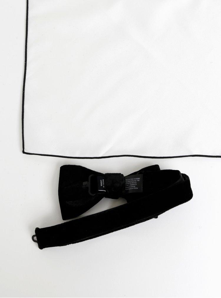 Černý sametový motýlek s příměsí hedvábí s bílým kapesníčkem Selected Homme Nicholas