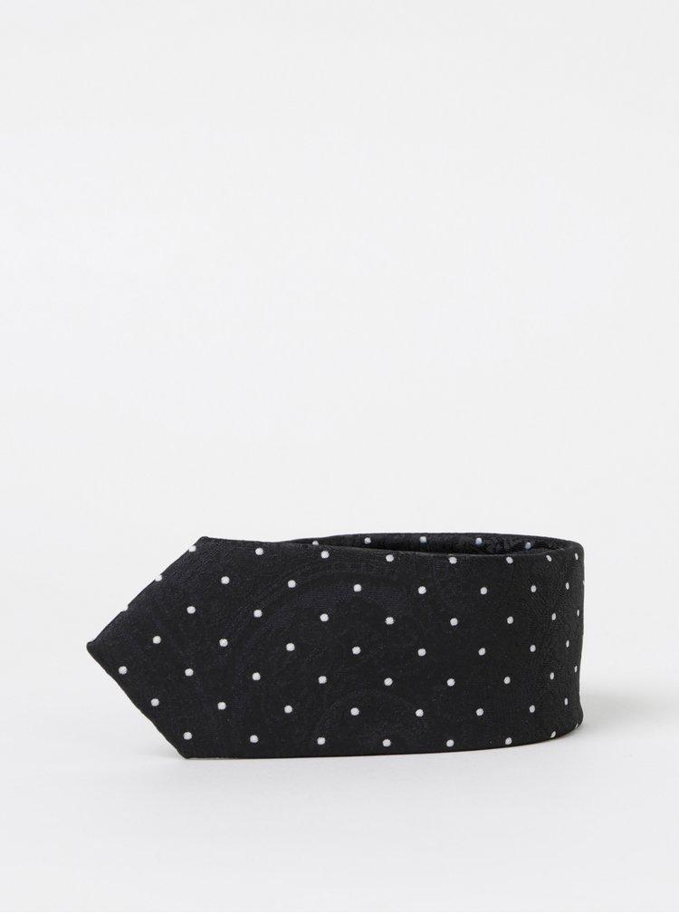 Černá puntíkovaná kravata Selected Homme Nicholas