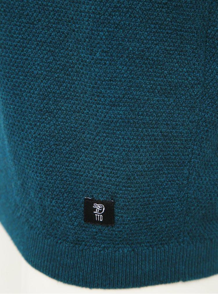 Petrolejový pánsky basic sveter Tom Tailor Denim