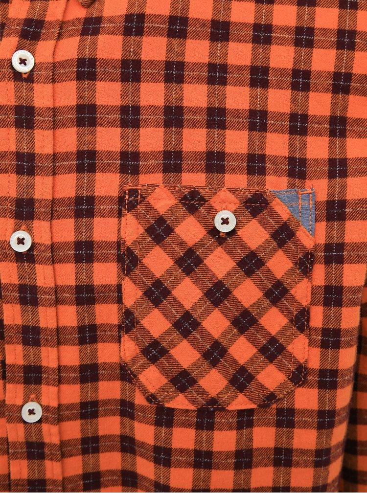 Oranžová pánská kostkovaná regular fit košile Tom Tailor