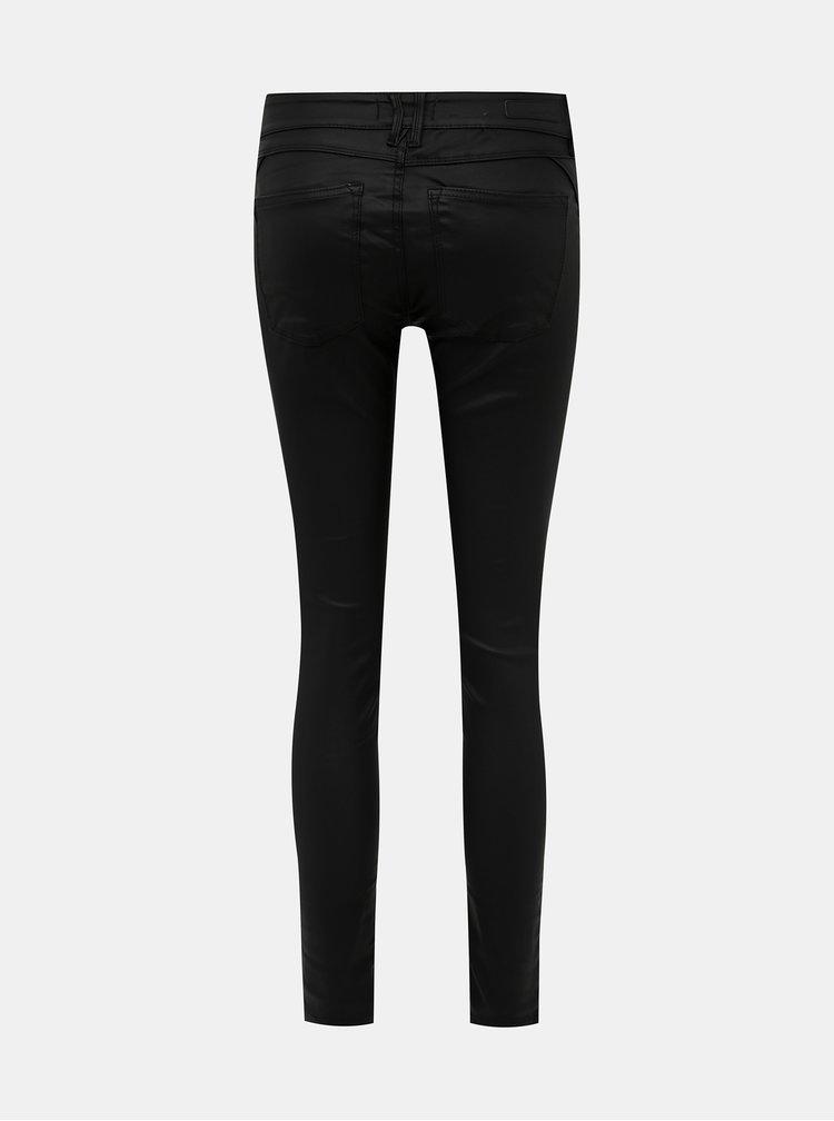 Černé skinny fit kalhoty s povrchovou úpravou Tom Tailor Denim