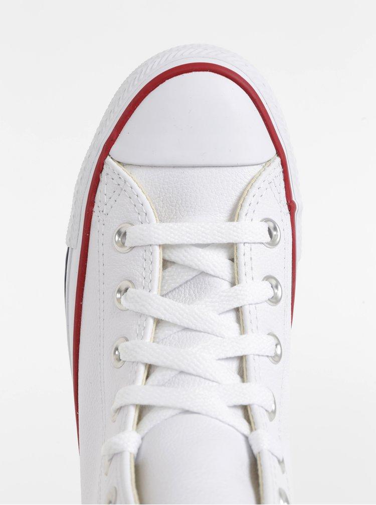 Biele kožené členkové tenisky Converse Chuck Taylor