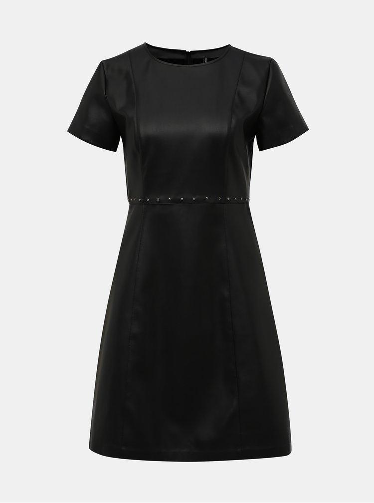 Čierne koženkové šaty ONLY Majken
