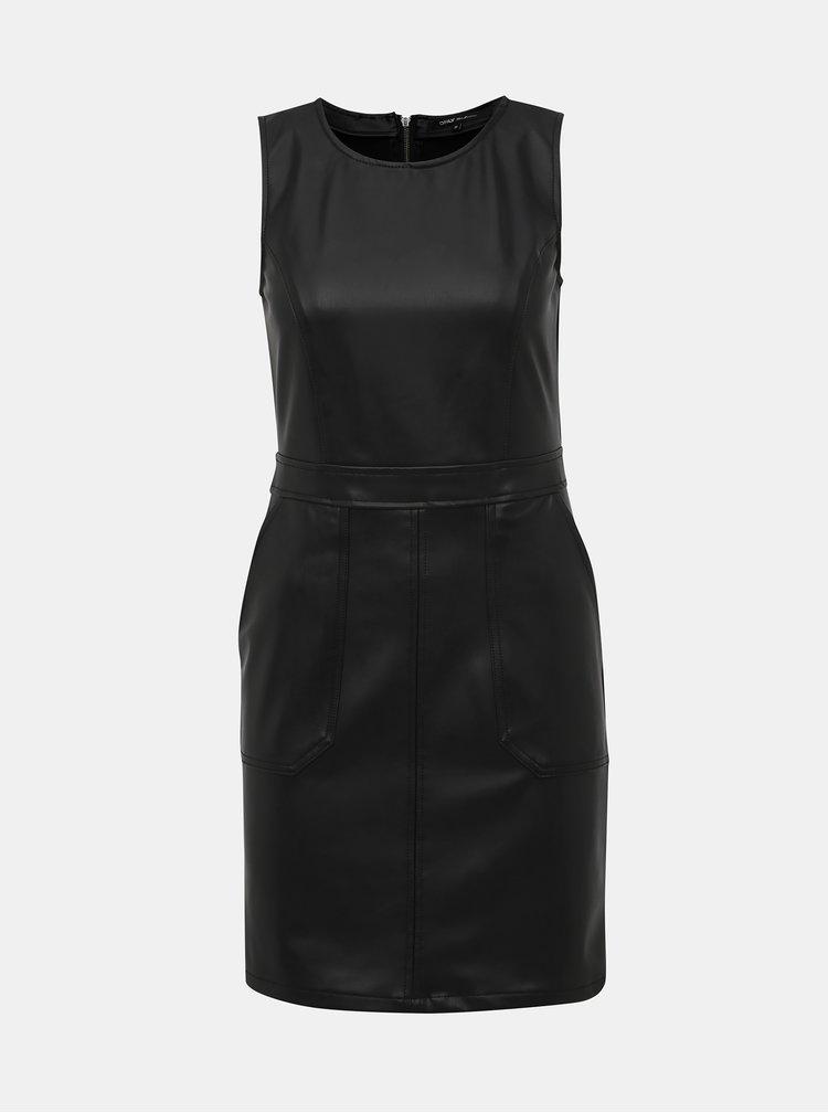 Čierne koženkové šaty ONLY Alice
