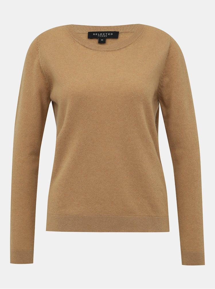 Béžový kašmírový sveter Selected Femme Aya