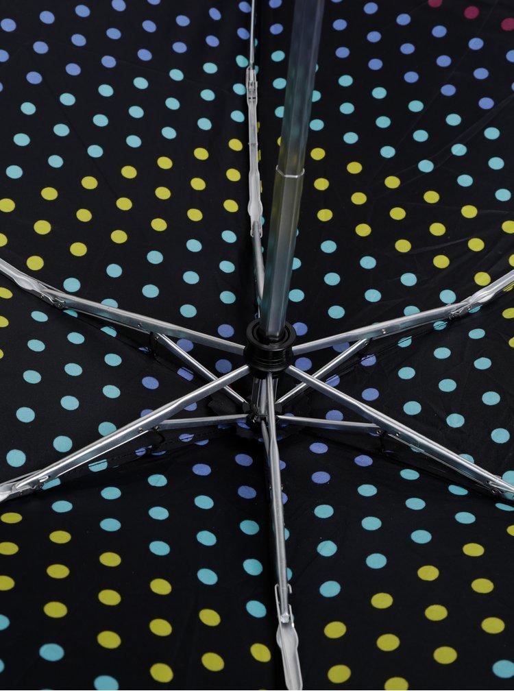 Černý puntíkovaný skládací deštník Esprit Petito