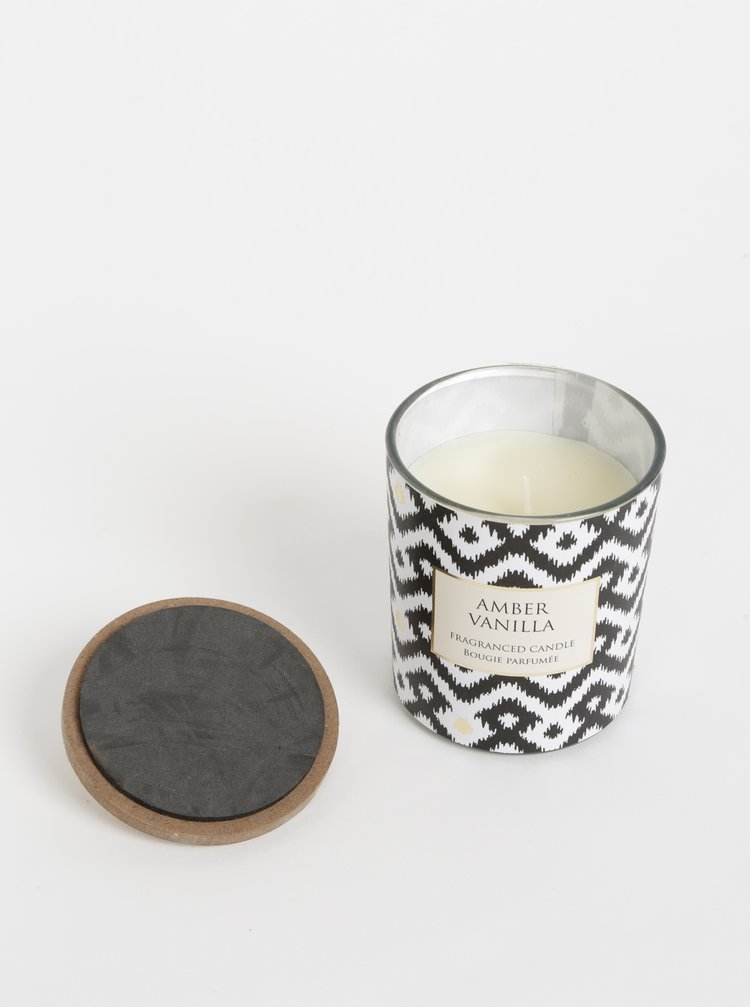 Bílá vzorovaná svíčka s vůní jantaru a vanilky SIFCON