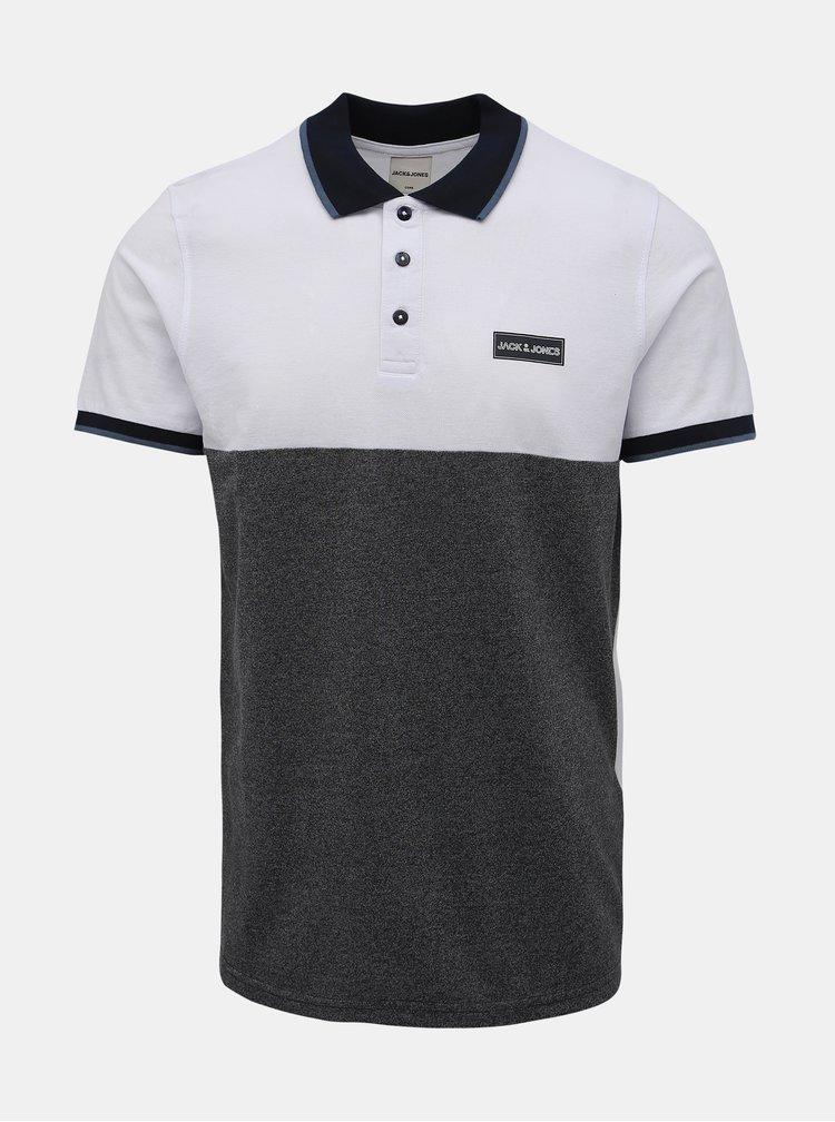 Bílo-šedé polo tričko Jack & Jones Zero