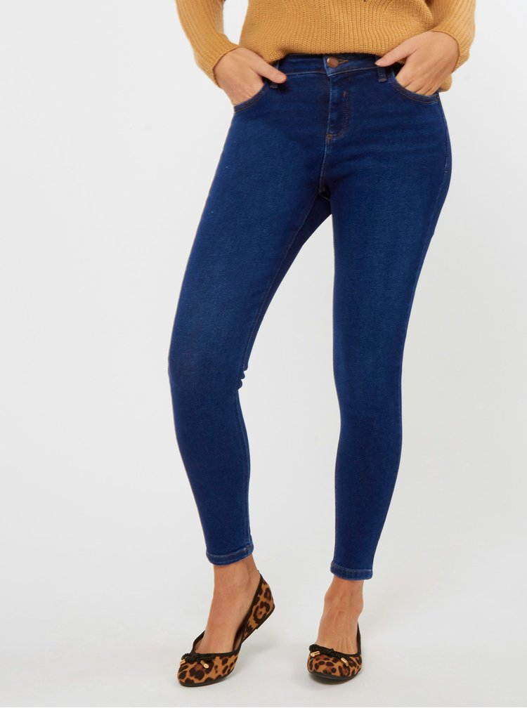 Modré skinny fit rifle Dorothy Perkins Darcy