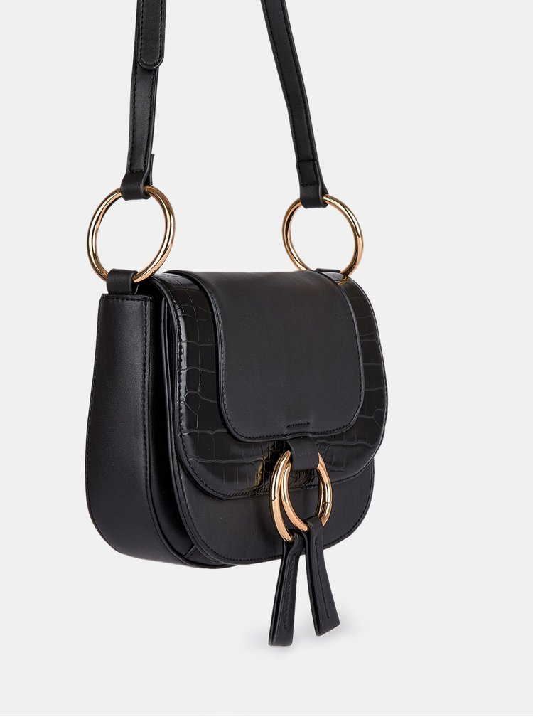 Černá crossbody kabelka s hadím vzorem Dorothy Perkins Saddle