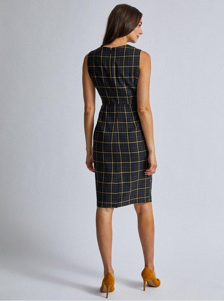 Čierne kockované púzdrové šaty Dorothy Perkins