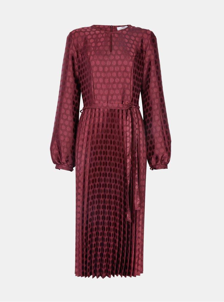 Vínové puntíkované midi šaty s plisovanou sukní Dorothy Perkins Tall
