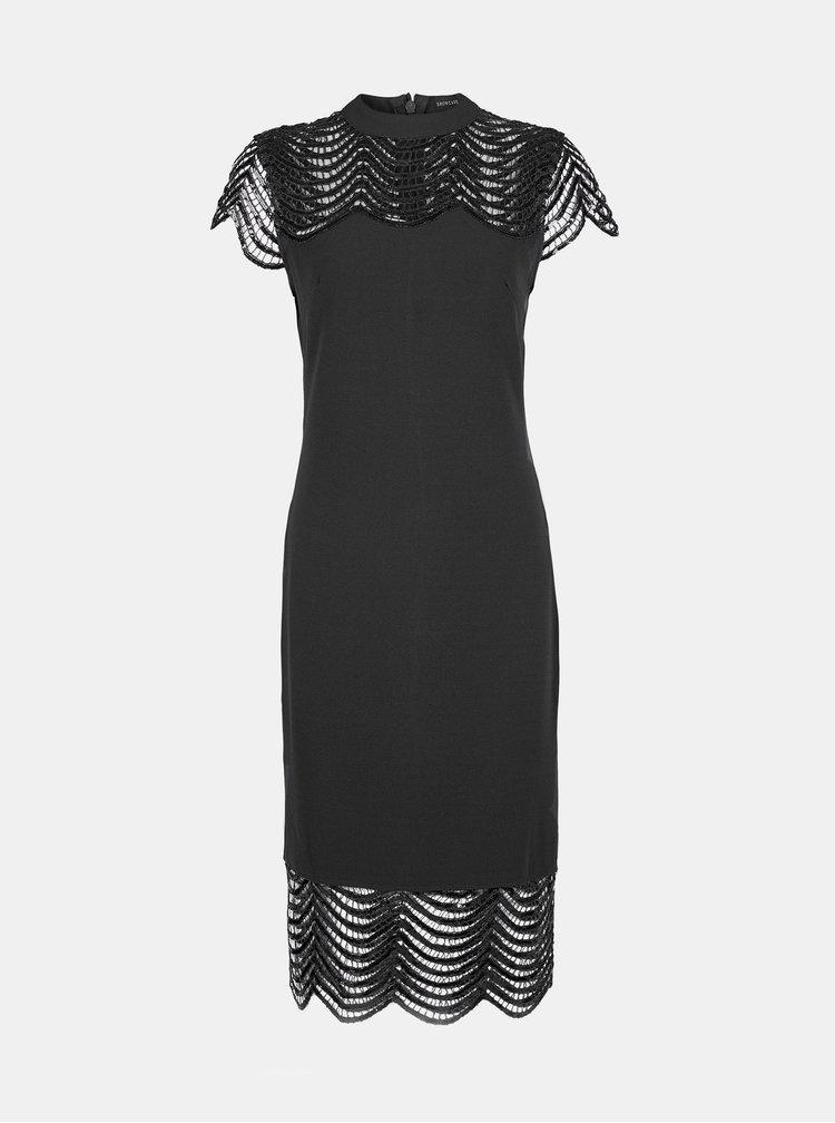 Čierne púzdrové šaty s krajkou Dorothy Perkins