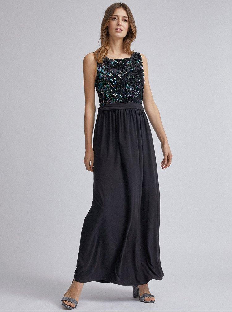 Čierne maxi šaty s flitrami Dorothy Perkins