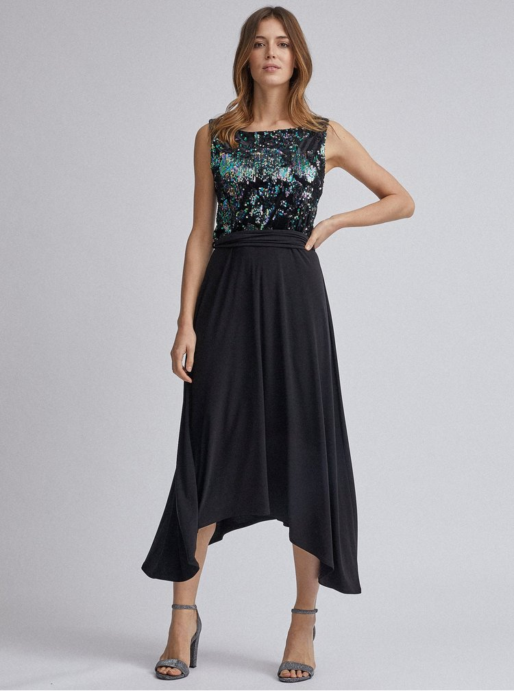 Čierne midi šaty s flitrami Dorothy Perkins