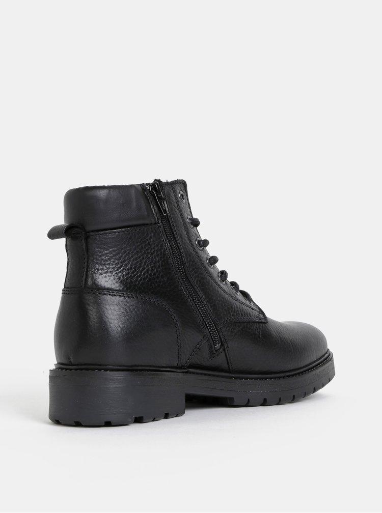 Čierne kožené členkové topánky Jack & Jones Whounslow