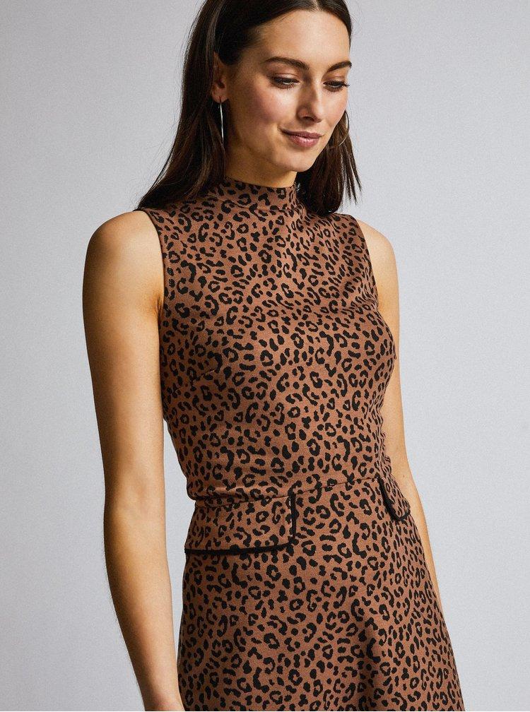 Hnědé pouzdrové šaty s leopardím vzorem Dorothy Perkins