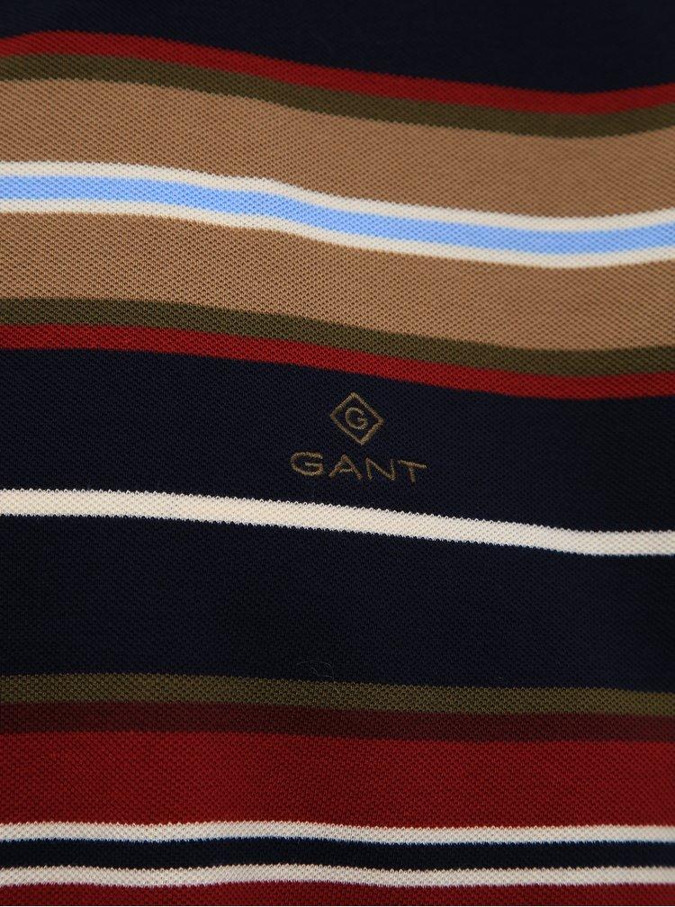 Hnedo-modrá pánska pruhovaná polokošeľa GANT