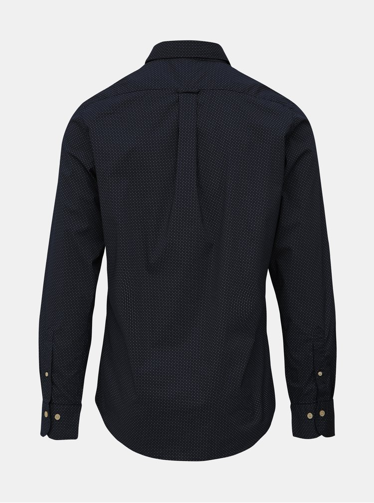 Tmavě modrá pánská vzorovaná slim fit košile GANT