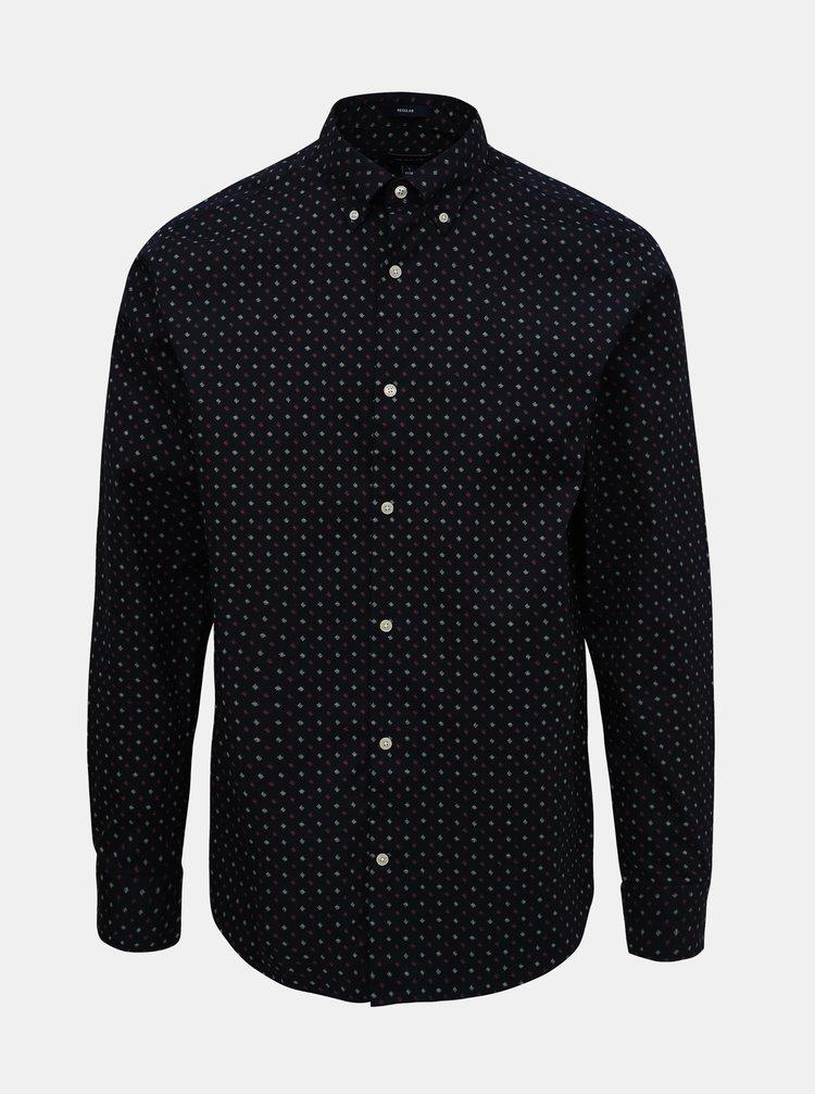 Tmavě modrá pánská vzorovaná košile GANT