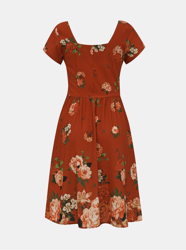 Červené květované šaty Dolly & Dotty Satin