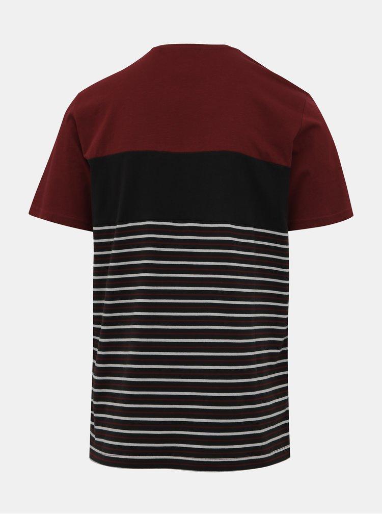 Černo-vínové pruhované tričko ONLY & SONS Balin