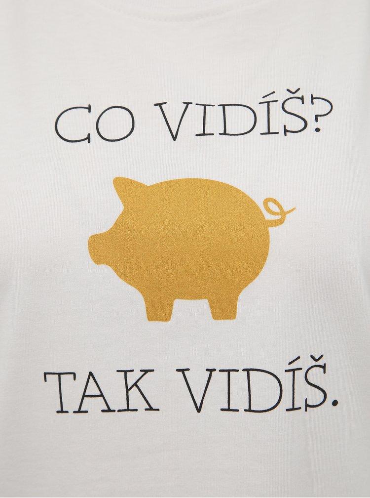 Bílé dámské tričko s potiskem ZOOT Original Zlaté prase