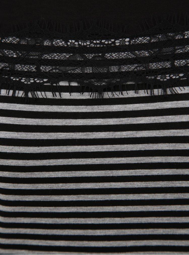 Šedo-čierne dámske pruhované tričko s krajkou Blue Seven