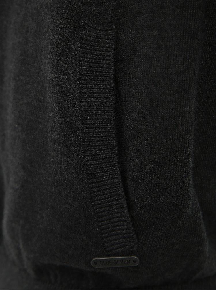 Tmavě šedý pánský svetr na zip Blue Seven
