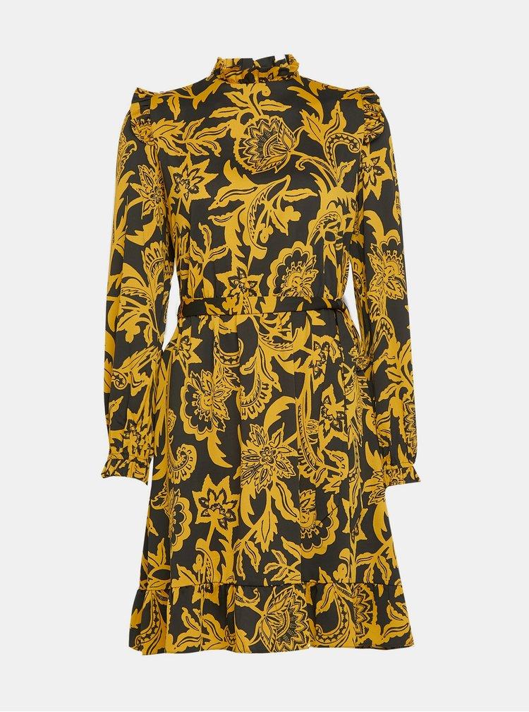 Černo-hořčicové vzorované šaty Dorothy Perkins