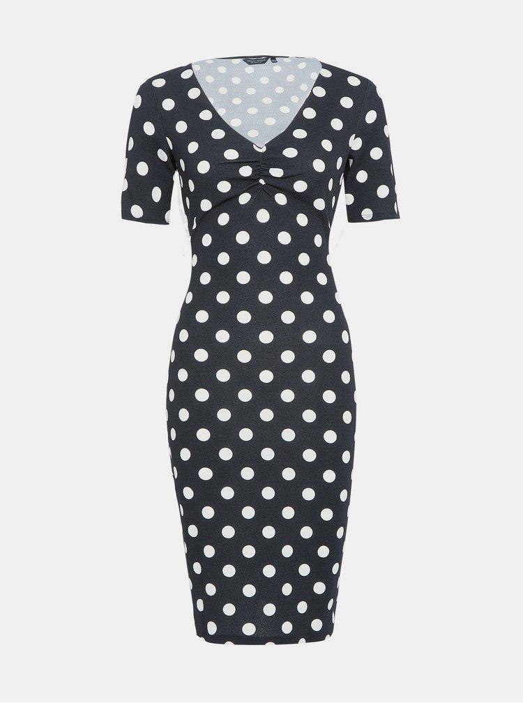 Černé puntíkované pouzdrové šaty Dorothy Perkins