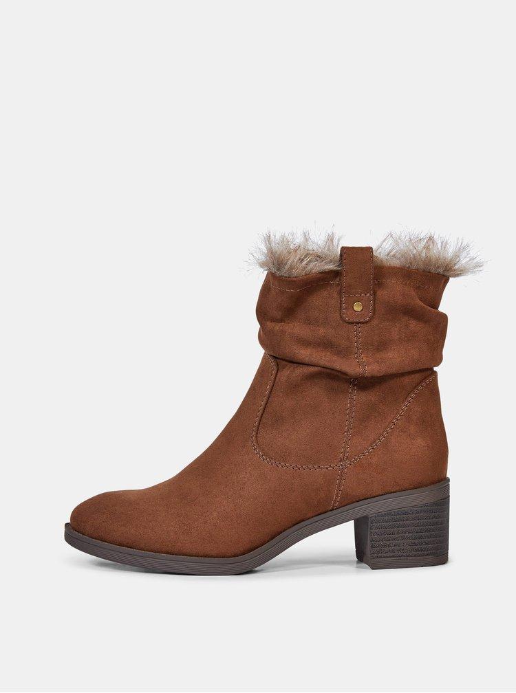 Hnědé kotníkové boty v semišové úpravě Dorothy Perkins