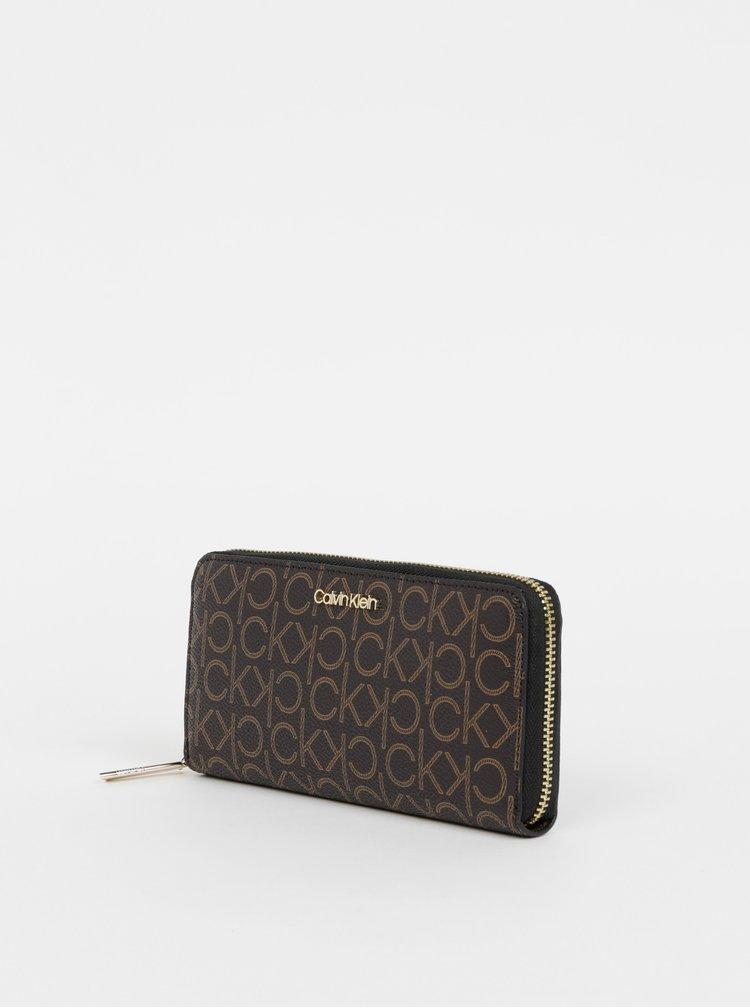 Tmavě hnědá dámská vzorovaná peněženka Calvin Klein Jeans