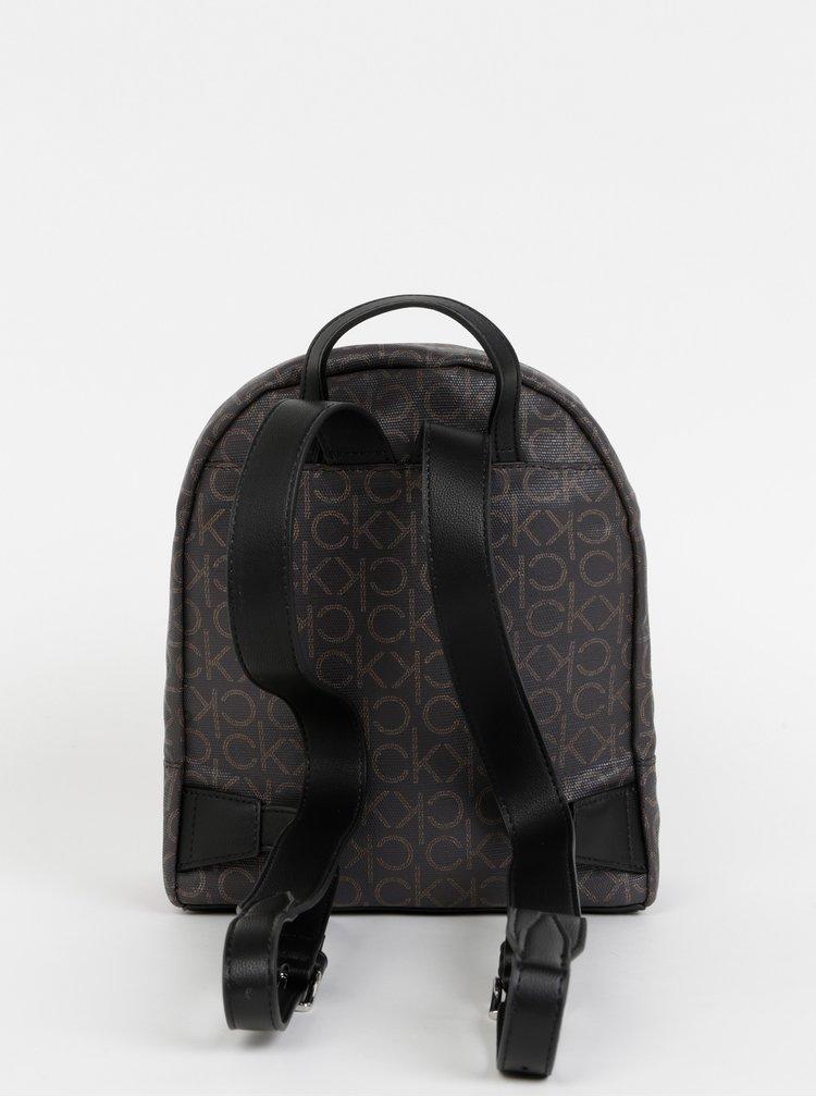 Tmavě hnědý dámský vzorovaný batoh Calvin Klein Jeans