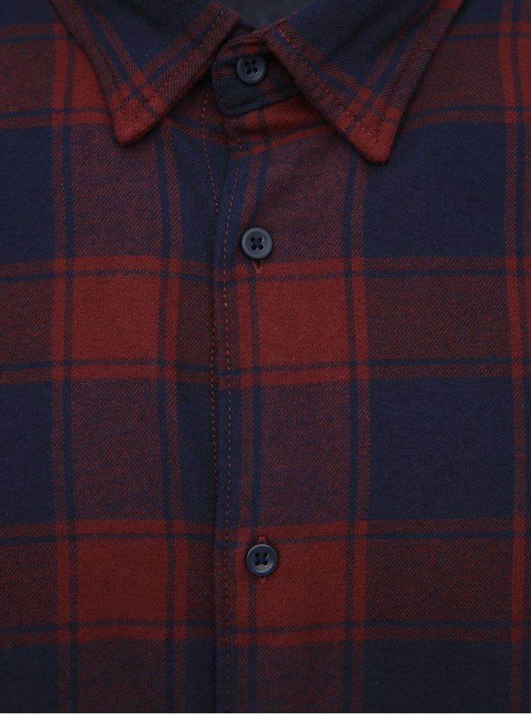 Vínová kostkovaná flanelová slim fit košile Jack & Jones Tommy