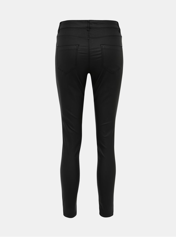 Černé zkrácené kalhoty s povrchovou úpravou Dorothy Perkins Frankie
