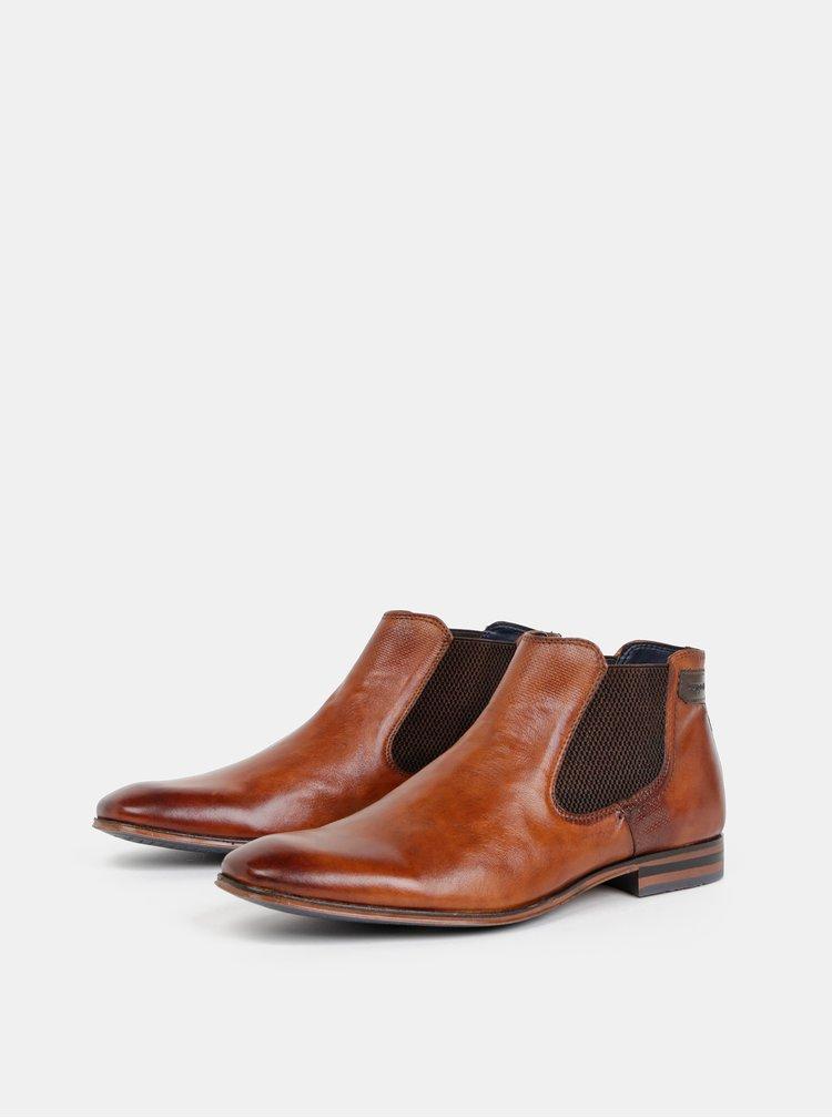 Hnedé pánske kožené chelsea topánky bugatti