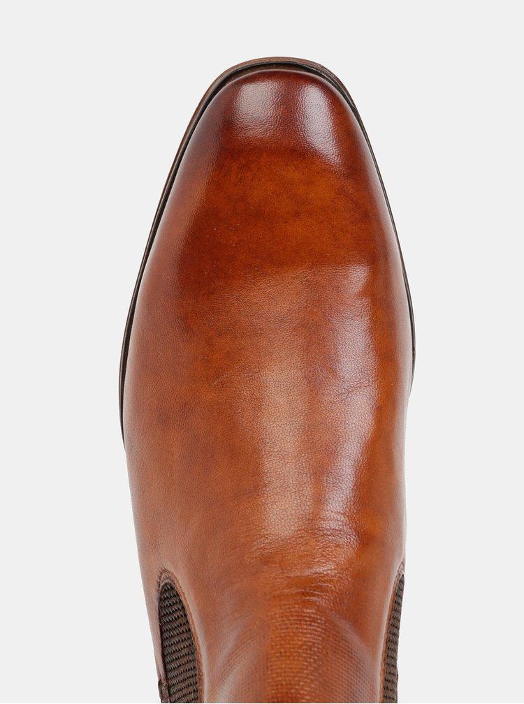 Hnědé pánské kožené chelsea boty bugatti