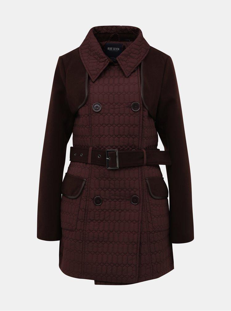 Vínový dámský prošívaný zimní kabát Blue Seven