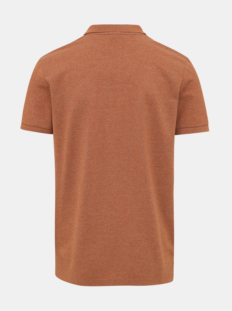 Hnědé polo tričko Jack & Jones Melange