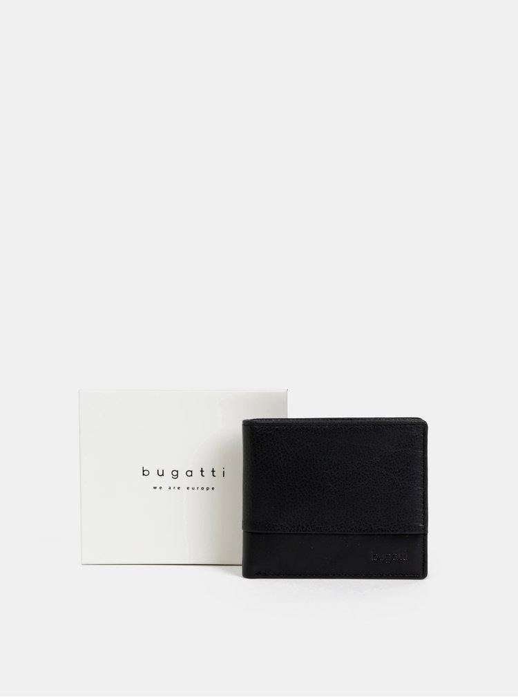 Černá kožená peněženka bugatti
