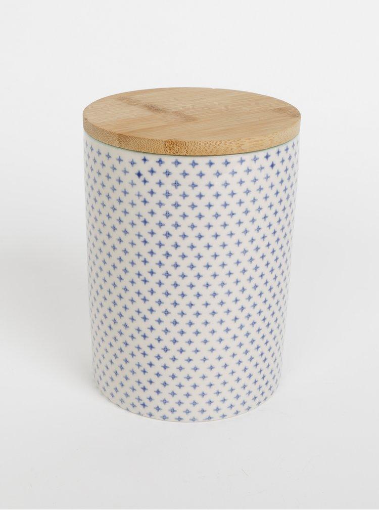Modro-krémová vzorovaná keramická dóza Tranquillo Svenja