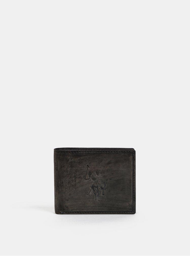 Tmavě šedá pánská kožená peněženka U.S. Polo Assn. Tulsa