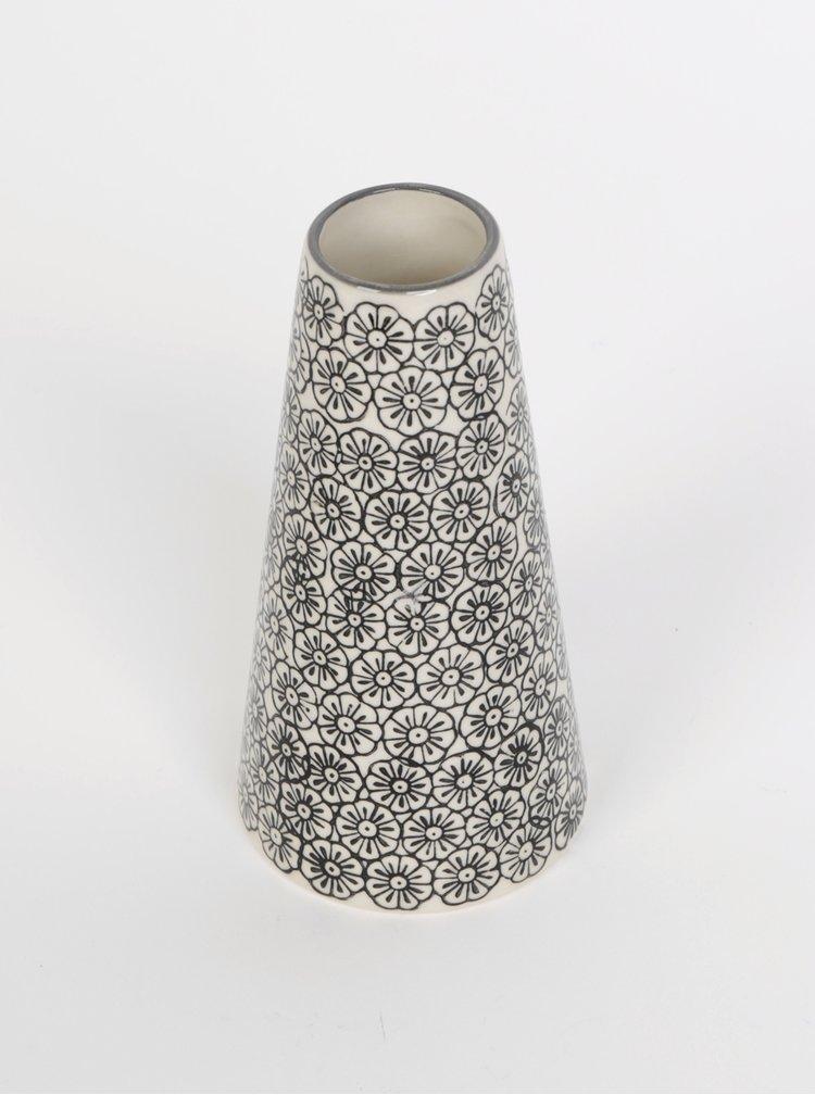 Krémovo-černá vzorovaná váza Tranquillo Birte